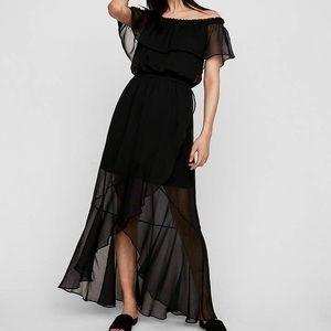 Express Off the Shoulder Fit & Flare Maxi Dress L